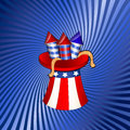 Th july independence day fireworks creative design art of cartoon festive in uncle sam hat on of vector background Royalty Free Stock Image