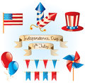 Th july independence day set vector illustrated Royalty Free Stock Image