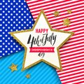 4th of July, Independence day - Star with brush calligraphy greeting on a stars and stripes USA patriotic colors background. Royalty Free Stock Photo