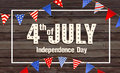 4th July - Independence day of United States of America - festive  with different holiday symbols  on wooden backgro Royalty Free Stock Photo