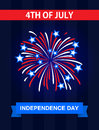 The 4th July, Independence Day in the United States of America. Greetings card. Celebrate it with the firework Royalty Free Stock Photo