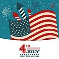 4th july independence day USA flag confetti fireworks decoration happy Royalty Free Stock Photo