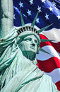 4th of July Liberty and flag Royalty Free Stock Photo