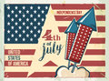 4th of July poster. Grunge retro metal sign with fireworks. Independence day. Celebration flyer. Vintage mockup. Old Royalty Free Stock Photo