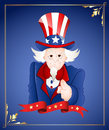 Th of july uncle sam card old cartoon pointing finger in greeting Stock Photos