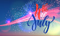 4th July USA fireworks greeting card Royalty Free Stock Photo