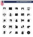 4th July USA Happy Independence Day Icon Symbols Group of 25 Modern Solid Glyph of scale; justice; american; court; cream Royalty Free Stock Photo