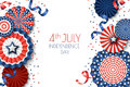 4th of July, USA Independence Day  banner template.. White background with paper stars in USA flag colors. Royalty Free Stock Photo