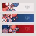 4th of July, USA Independence Day banners with paper stars in USA flag colors. Holiday backgrounds set.