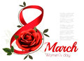 8th March illustration with red rose. International Women`s Day.