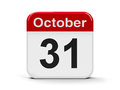 Th october calendar web button thirty first of three dimensional rendering Royalty Free Stock Photography
