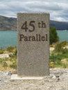 Th parallel milepost near lowburn otago new zealand Stock Images