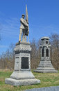 Th pennsylvania infantry monument antietam national battle field the and new york monuments with skyline background Stock Image