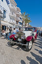Th rally barcelona sitges second phase race spain march jordi ricardo palau drives a silver ghost rolls royce on the of the of Royalty Free Stock Images