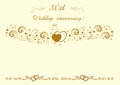 50th Wedding anniversary Invitation.Beautiful editable vector il Royalty Free Stock Photo
