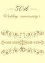 50th Wedding anniversary Invitation original  Illustrat Royalty Free Stock Photo