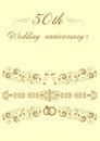 50th Wedding anniversary Invitation original  Illustrat Royalty Free Stock Photo