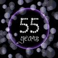 55th years happy birthday anniversary card invitation diamonds number purple bokeh lights