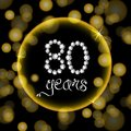 80th years happy birthday anniversary cardgold invitation diamonds number yellow bokeh lights