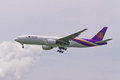 Thai airline landing to hong kong Stock Photography