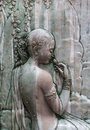 Thai ancient angel stone carving Royalty Free Stock Photo