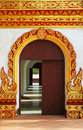 Thai ancient decorative door Royalty Free Stock Photography