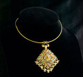 Thai ancient style golden necklace Stock Image