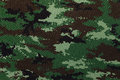 Thai army green woodland digital camouflage fabric texture Royalty Free Stock Photo