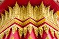 Thai art corinthian thai style a column at gate church temple thailand Stock Photo