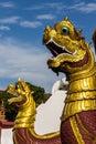 Thai art naka statue on staircase in wat raja mon thian chiangmai thailand Stock Image