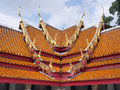 Thai art of the roof of the marble temple unique part bangkok thailand Stock Photo