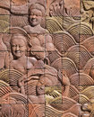 Thai art on the wall at public temple at thailand pic of Stock Photo