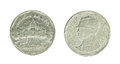 5 thai baht coin isolated on white background - set Royalty Free Stock Photo
