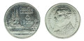 1 thai baht coin isolated on white background - set Royalty Free Stock Photo