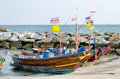 Thai boat in the bay thailand Royalty Free Stock Photo