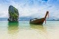 Thai boats and landmark at po da island krabi province andaman sea south of thailand Royalty Free Stock Photos