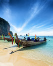 Thai boats on phra nang beach thailand Stock Images