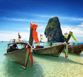 Thai boats on phra nang beach thailand Royalty Free Stock Photos