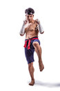 A thai boxer with boxing action Stock Photos