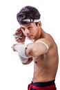 A thai boxer with boxing action Royalty Free Stock Images
