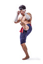A thai boxer with boxing action Stock Image