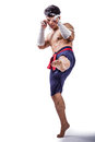 A thai boxer with boxing action Royalty Free Stock Image