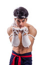 A thai boxer with boxing action Royalty Free Stock Photo