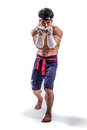 A thai boxer with boxing action Stock Photography