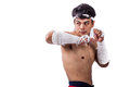 A thai boxer with boxing action Royalty Free Stock Photos