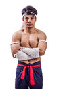 A thai boxer with boxing action Stock Photo