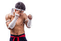 A thai boxer with boxing action Royalty Free Stock Photography