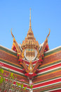 Thai buddhist temple roof gable with tiered and carved apex photograph from in samutprakarn province thailand Royalty Free Stock Photography