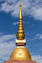 Thai chedi over blue sky in wat raja mon thian chiangmai thailand Royalty Free Stock Photo