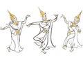 Illustration of Thai Classical Dances Royalty Free Stock Photo